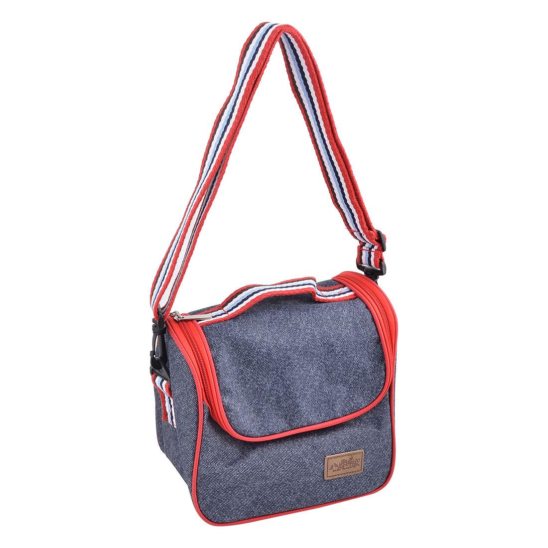 Hiking Oxford Fabric Zipper Closure Food Warming Cooler Storage Bag Dark Blue
