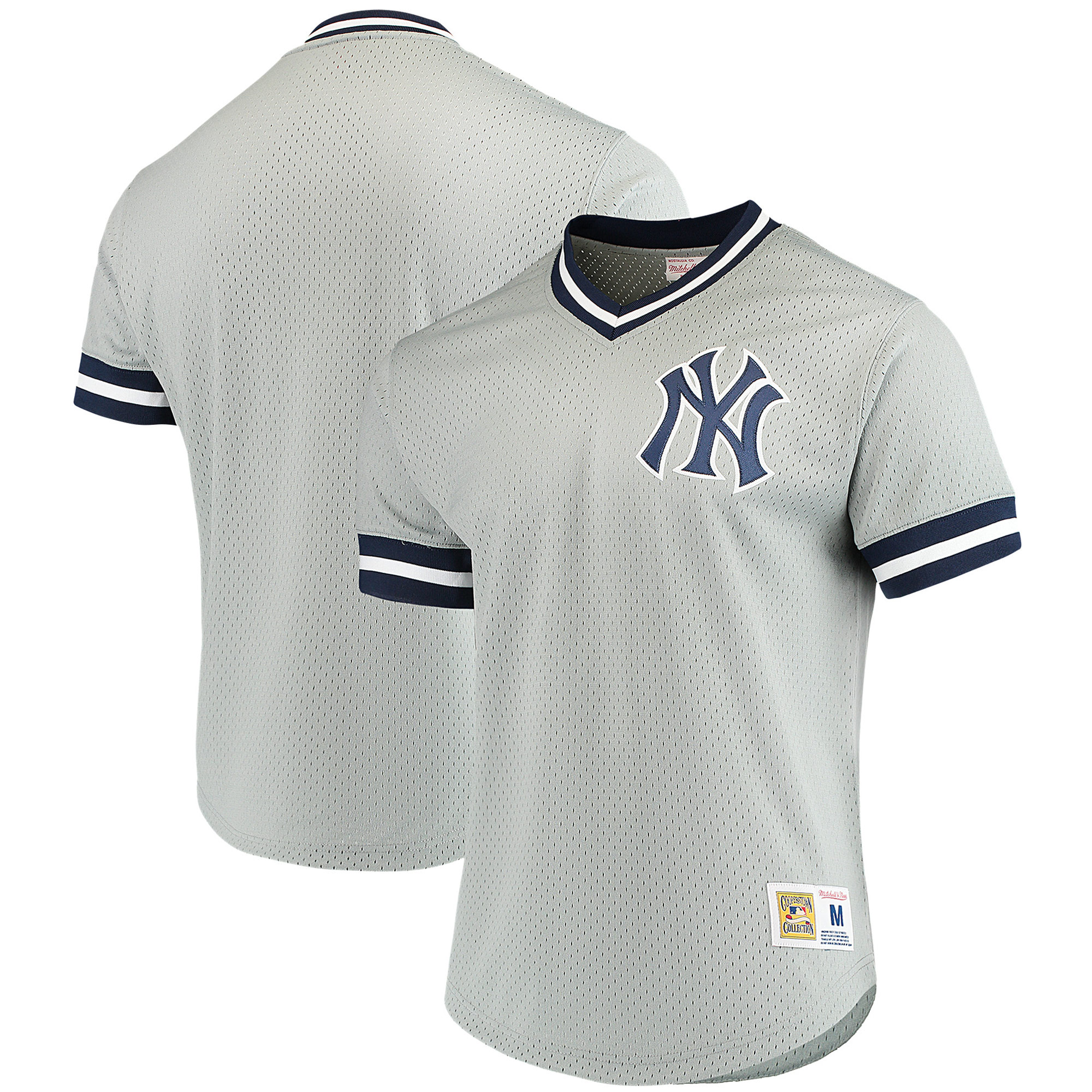 New York Yankees Mitchell & Ness Mesh V-Neck Jersey - Gray
