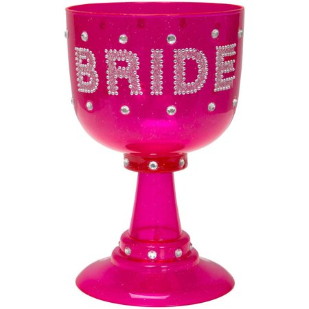Plastic Bachelorette Party Goblet, 22oz, Pink, (Hot Pink Glasses)