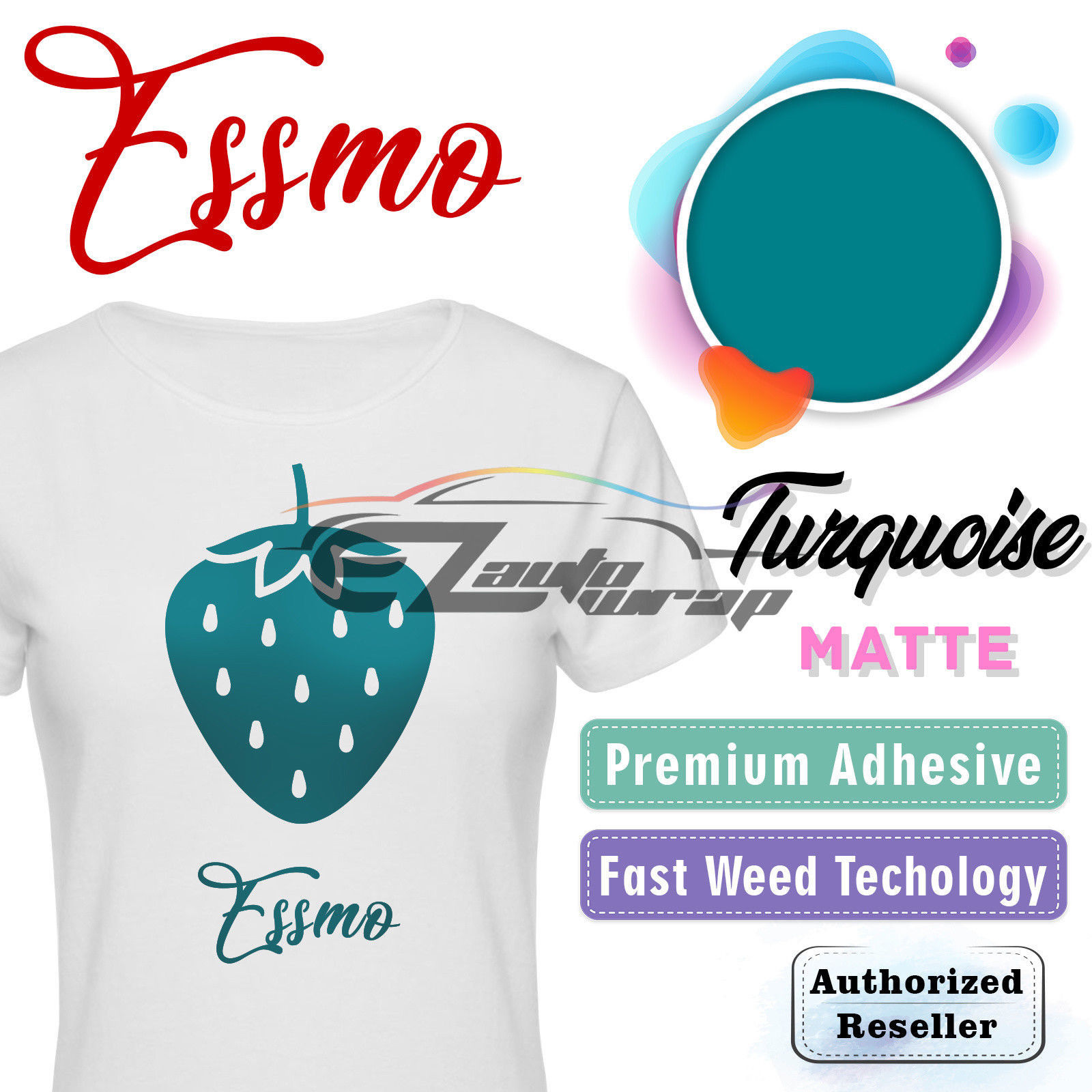 "ESSMO Turquoise Matte Solid Heat Transfer Vinyl HTV Sheet T-Shirt 20"" Wide Iron On Heat Press 20""x12"""