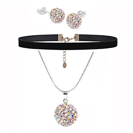 BodyJ4You Jewelry Set Black Choker Aurora Ferido Ball Necklace Stud Earrings 4 - Stud Choker