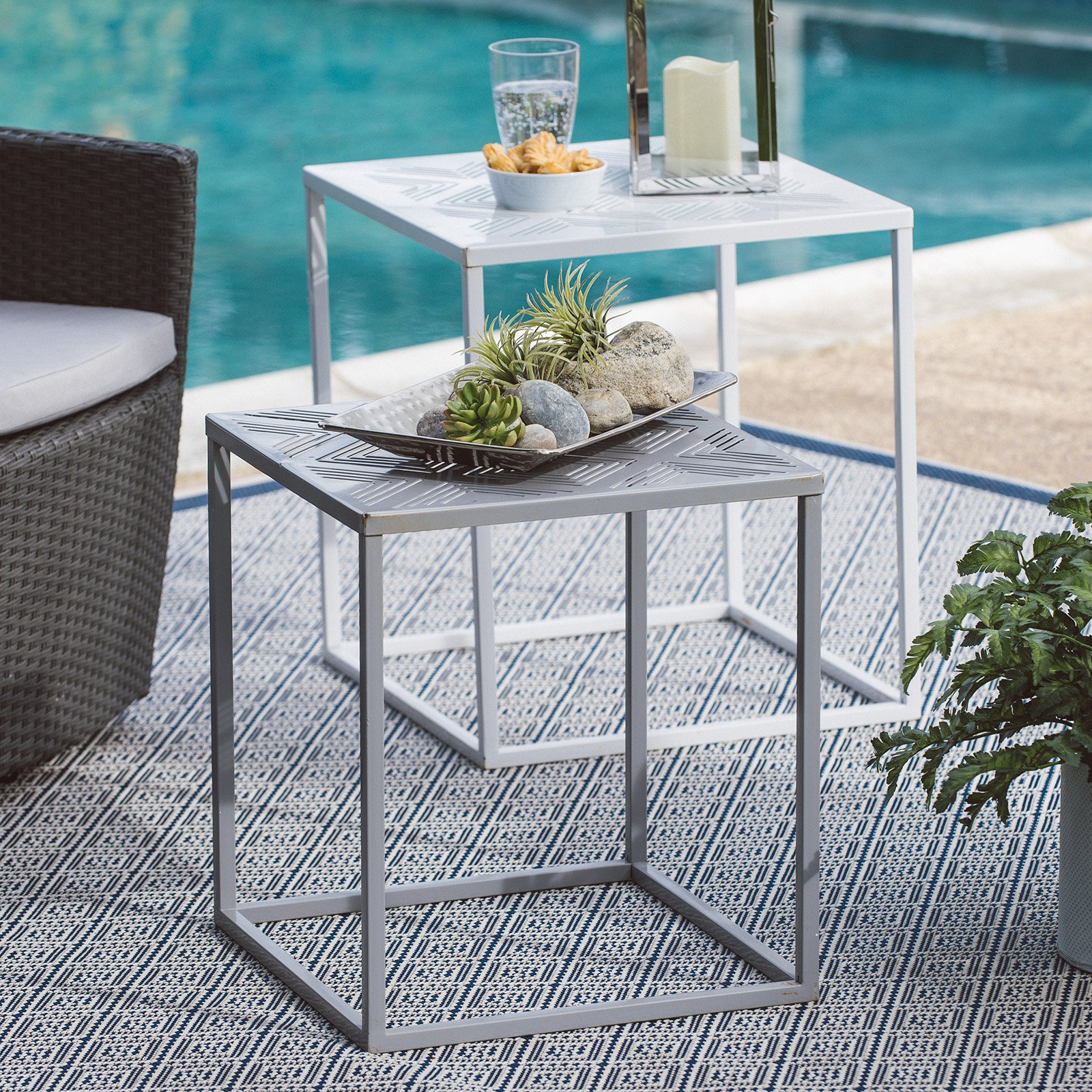 Coral Coast Cortina Square Metal Patio Nesting Tables Set of 2 by