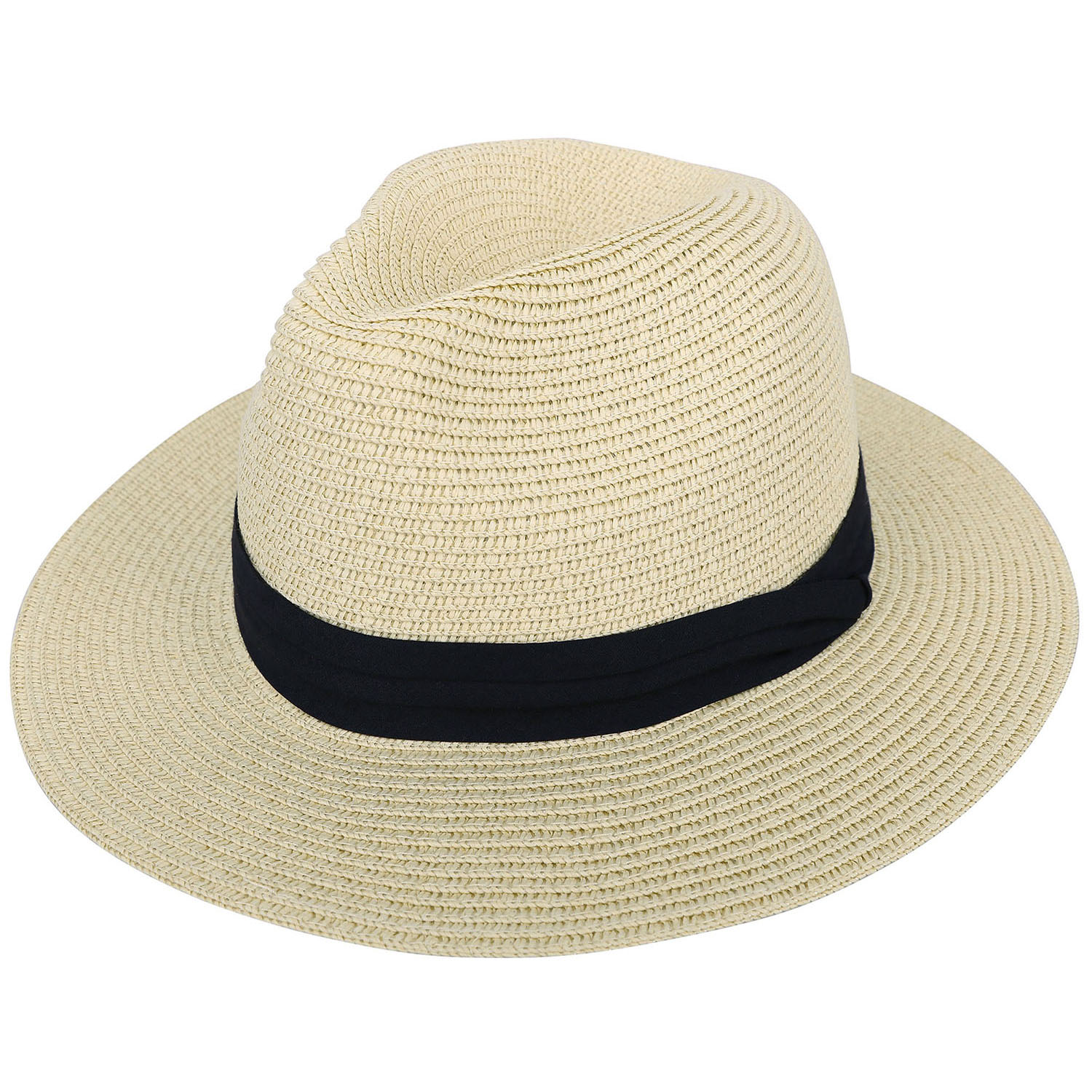 Straw Crushable Fedora Natural Cream Wide Brim Packable Summer Sun Hat 3 Sizes