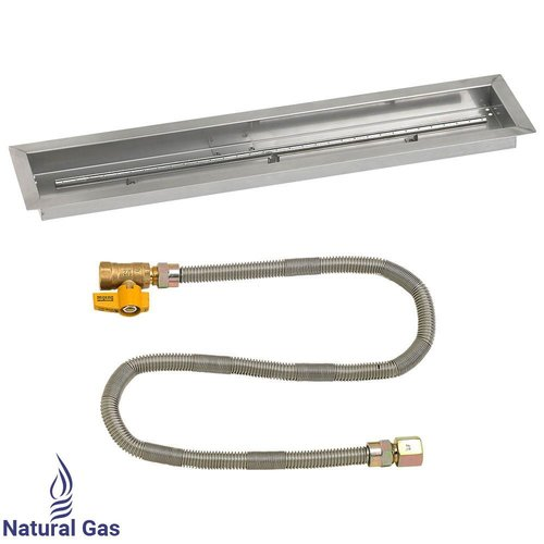 """American Fireglass Linear Drop-in Pan with Match Light Natural Gas Fire Pit Kit (Set of 2) SS-LCBMKIT-N- Size: 3"""" H x 36"""" W x 6"""" D"""