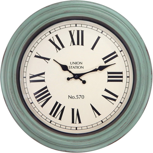 Better Homes and Gardens 14 Distressed Teal Clock