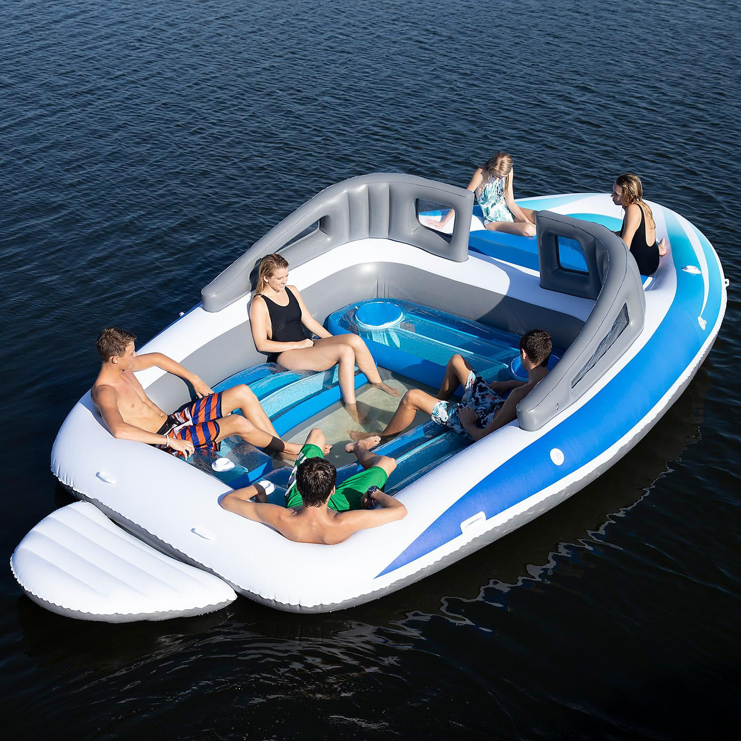 New Sun Pleasure Big Inflatable 6 Person Party Unicorn Island Water Float Lounge