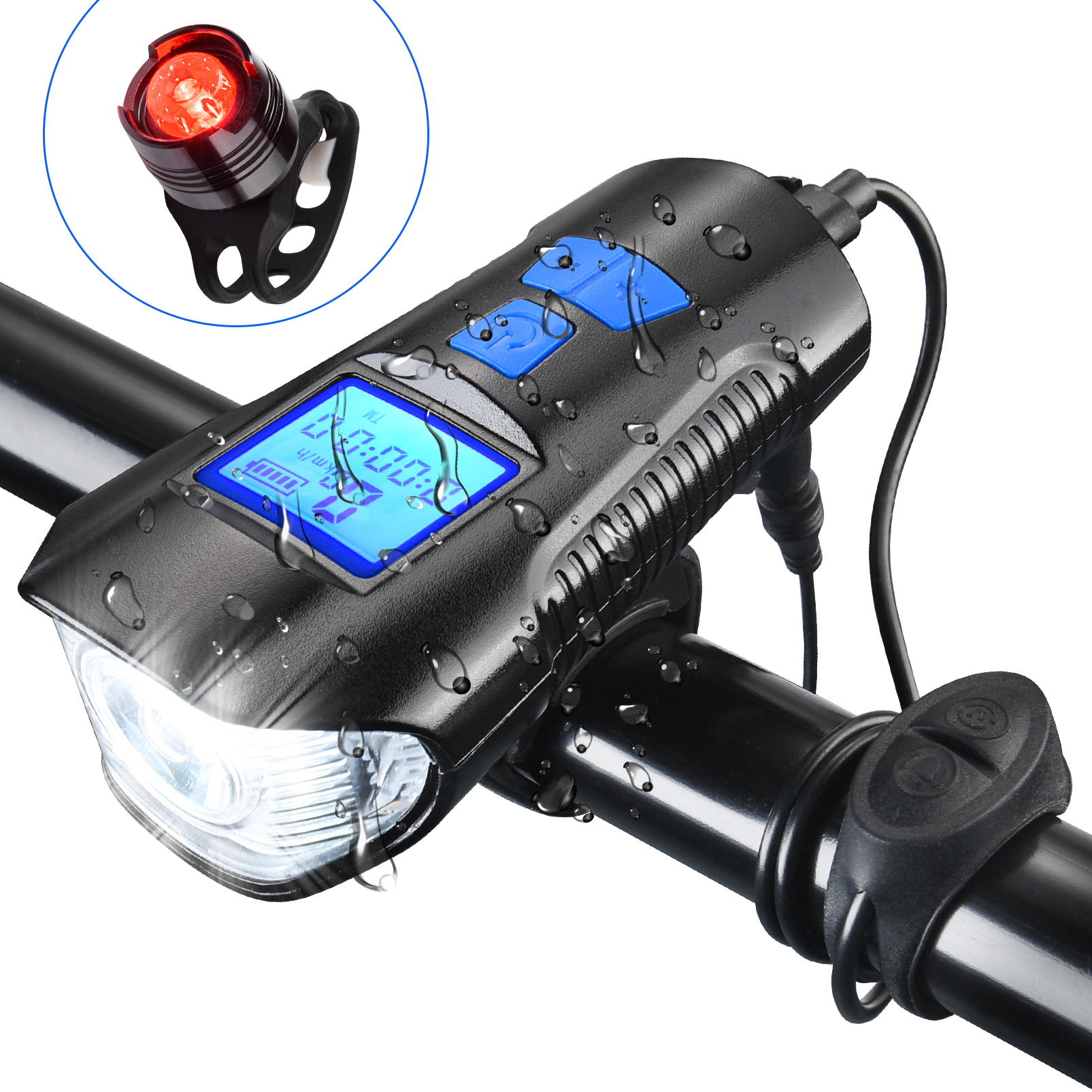 Details about  / USB Rechargeable Bike Light Set,Super Bright Front Headlight and Rear LED