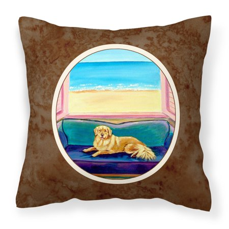 Golden Retriever Couch Sitting Fabric Decorative Pillow ()