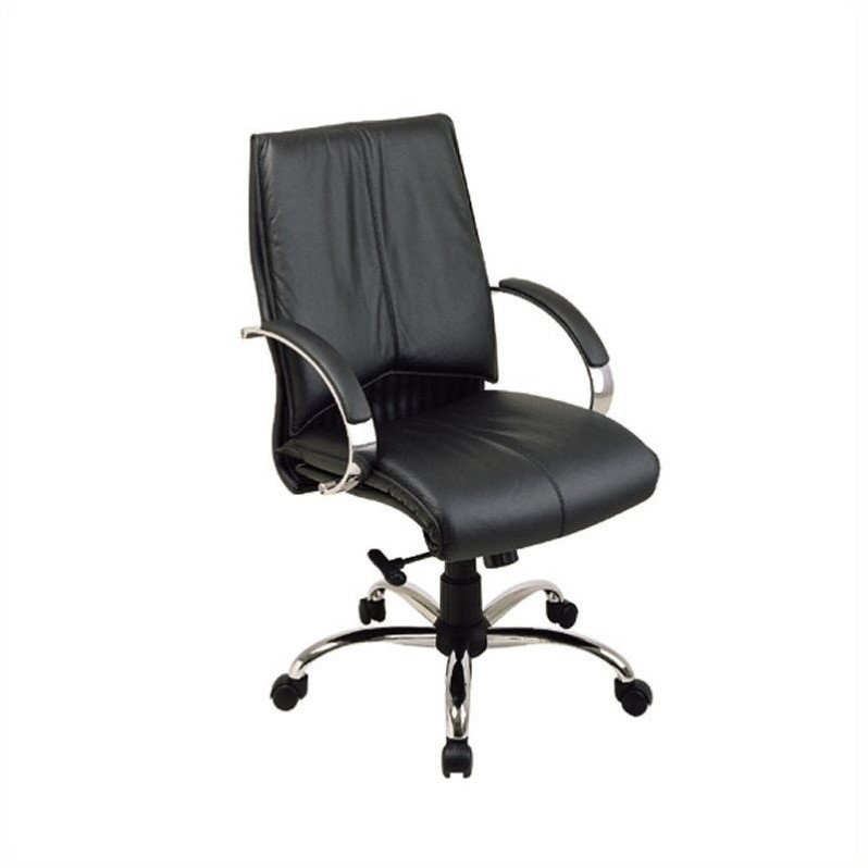 Office Star Deluxe Mid Back Black Executive Leather Chair with Chrome Finish Base and Padded Polished Aluminum Arms, Contour Seat and Back with Built-in Lumbar Support
