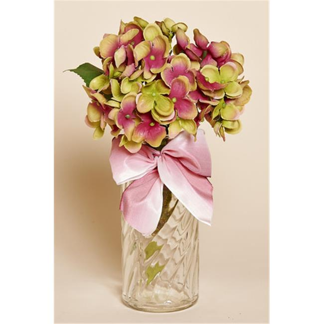 Harvest of Barnstable HPFB Clear Glass Bottle with Mauve and Green Silk Hydrangea - 9. 5 inch