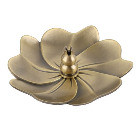 Home Metal Flower Shape Censer Plate Insence Stick Holder Container Bronze Tone - Flower Shapes