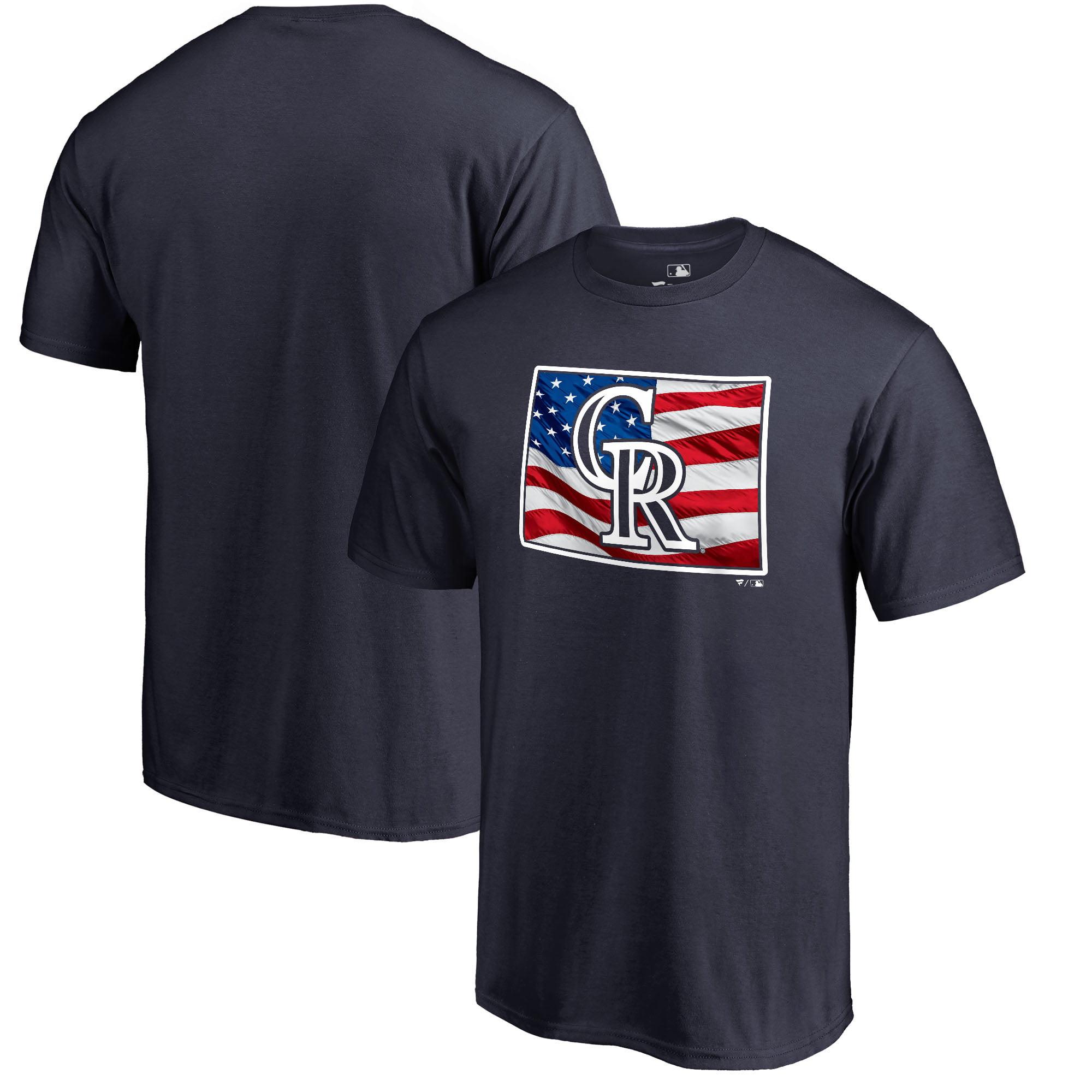 Colorado Rockies Fanatics Branded 2018 Stars & Stripes Banner State Big & Tall T-Shirt - Navy