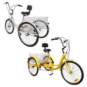 "Areyourshop White 7-Speed 24"" With Basket Adult 3-Wheel Tricycle 3 Wheeled Trike Bicycle Cruise Bike Bicycle"