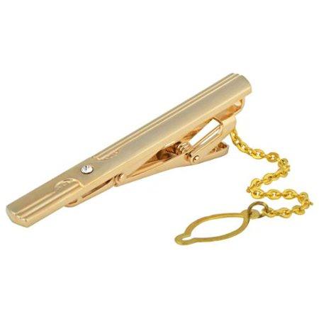 Zodaca Diamond With Chain Men Metal Necktie Tie Bar Clasp Clip Clamp