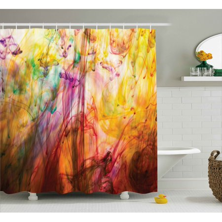 Modern Shower Curtain Rainbow Water Painting Colored On A Canvas Like Artistic Vision Image