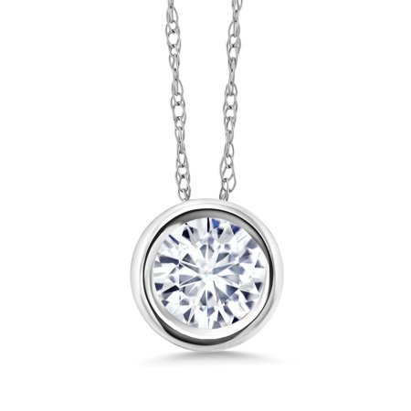 14K White Gold Pendant Forever One Colorless DEF Round Created Moissanite 6mm