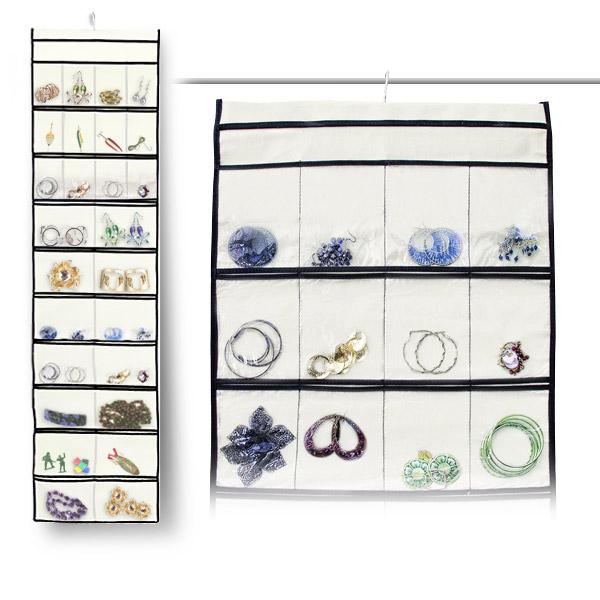 Stylishly Stored 52 Pocket Hanging Canvas Jewelry Organizer