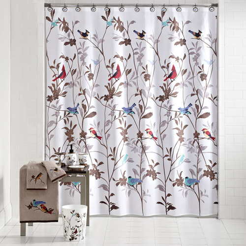 Mainstays Birds In Nature Decorative Bath Collection   Shower Curtain    Walmart.com