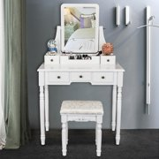 Ktaxon 360-Degree Rotary Mirror Set Makeup Table Wood Vanity Dresser 5 Drawers & Stool Jewelry Desk,White