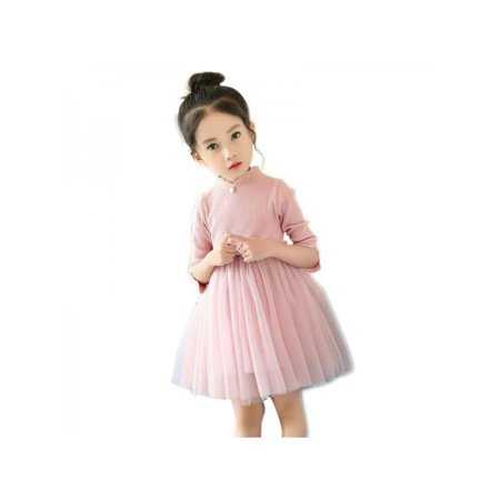 Topumt Spring Autumn Baby Girl Long Sleeve Solid Color Mesh with Pearl Princess Dress