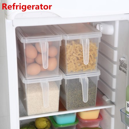4.7L Food Storage Box Bin PP Plastic Handle Crisper Sealed Food Fruit Vegetable Refrigerator Kitchen Storage Box + Lid