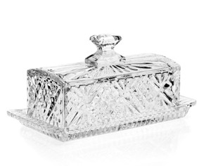 """8"""" Dublin Leaded Crystal Covered Butter Dish Tray with Lid by Godinger"""
