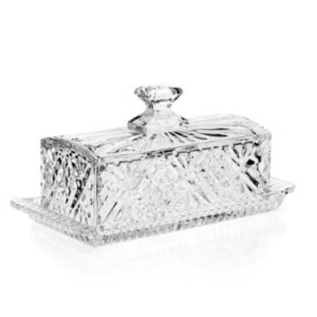 """8"""" Dublin Leaded Crystal Covered Butter Dish Tray with Lid"""