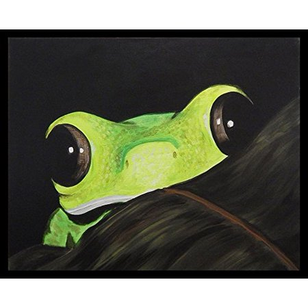 FRAMED Peeking Frog by Ed Capeau 30x24 Giclee Edition Art Print Poster Wall Decor Green Tree Frog Peek A Boo Save The