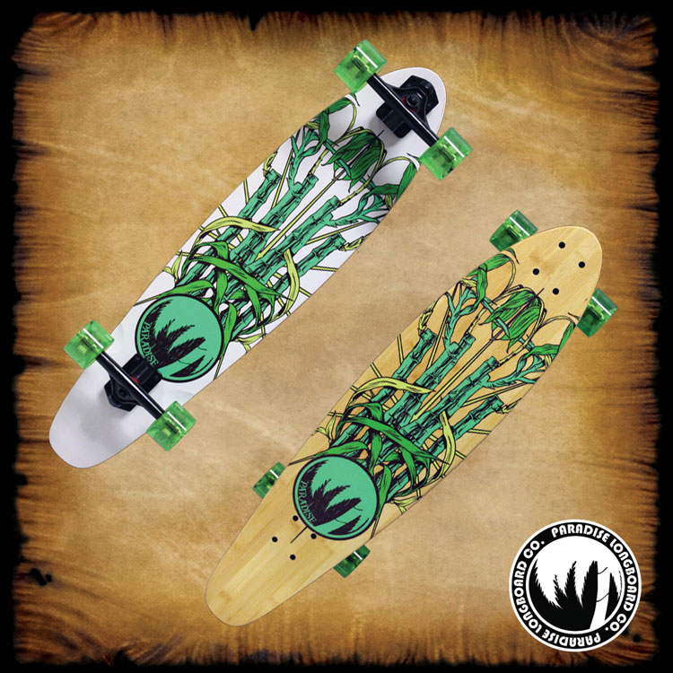 PARADISE Longboard Complete BAMBOO CREST Kicktail Cruiser Skateboard 8 x 33.75