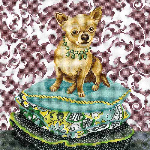 """RTO Ginger Chihuahua Counted Cross-Stitch Kit, 9-3/4"""" x 9-3/4"""", 14 Count"""