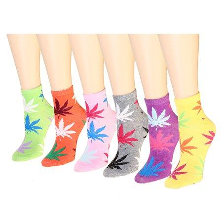12 Pairs Women's Socks Assorted Colors Size 9-11 Marijuana