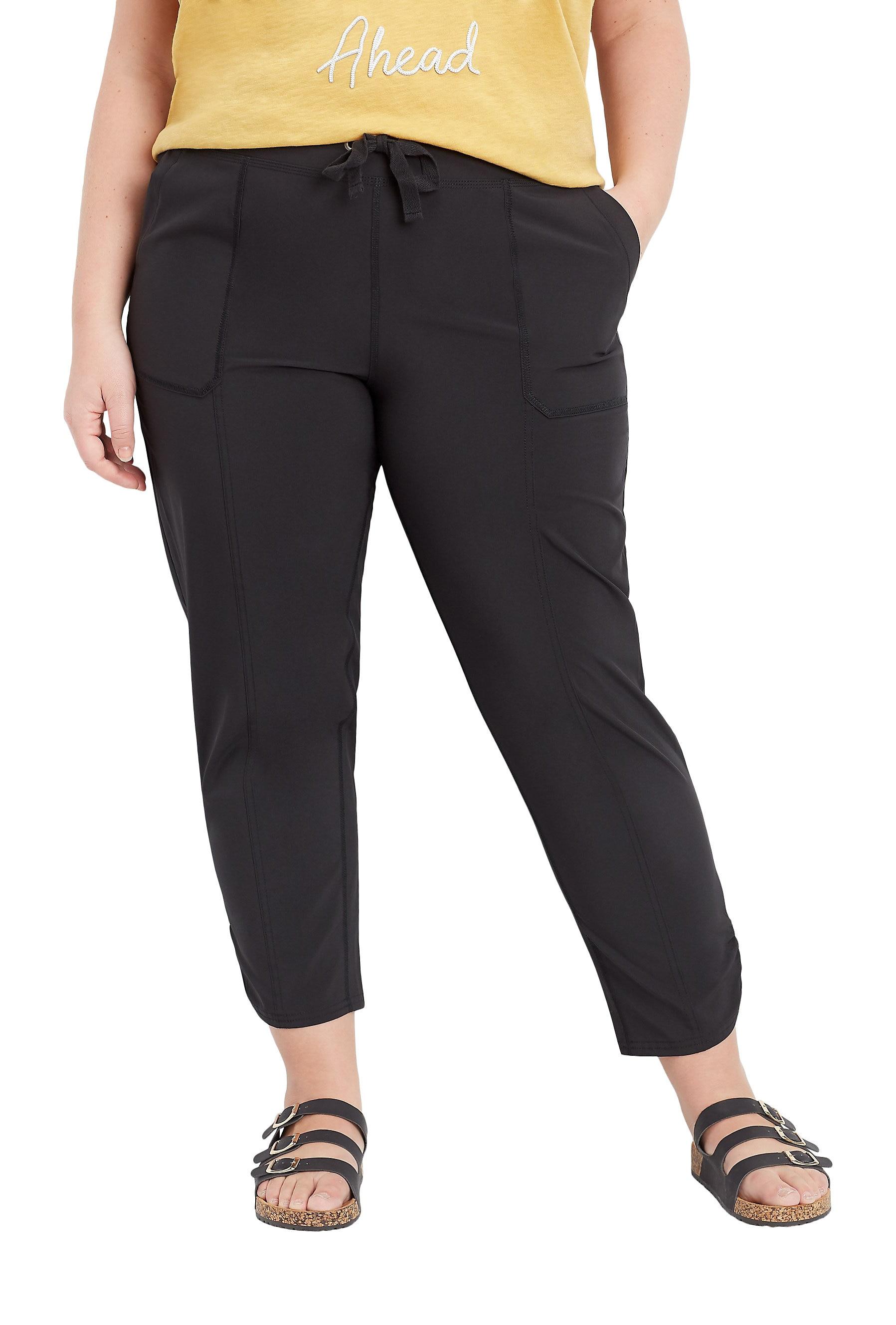 Plus Size Black Ruched Hem Tie Waist Ankle Pant