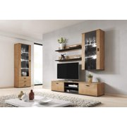 Soho 6 Modern Wall Unit Entertainment Center with 16 Color LED Lights