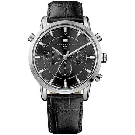 62d82c3b9 Tommy Hilfiger Black Leather Chronograph Mens Watch 1790875 - image 1 of 1  ...