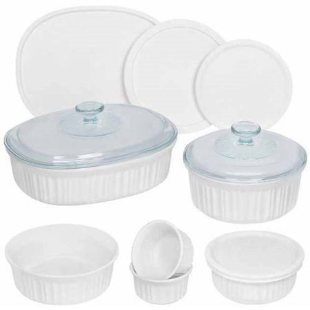 (Corningware French White 12-Piece Round and Oval Bakeware Set)