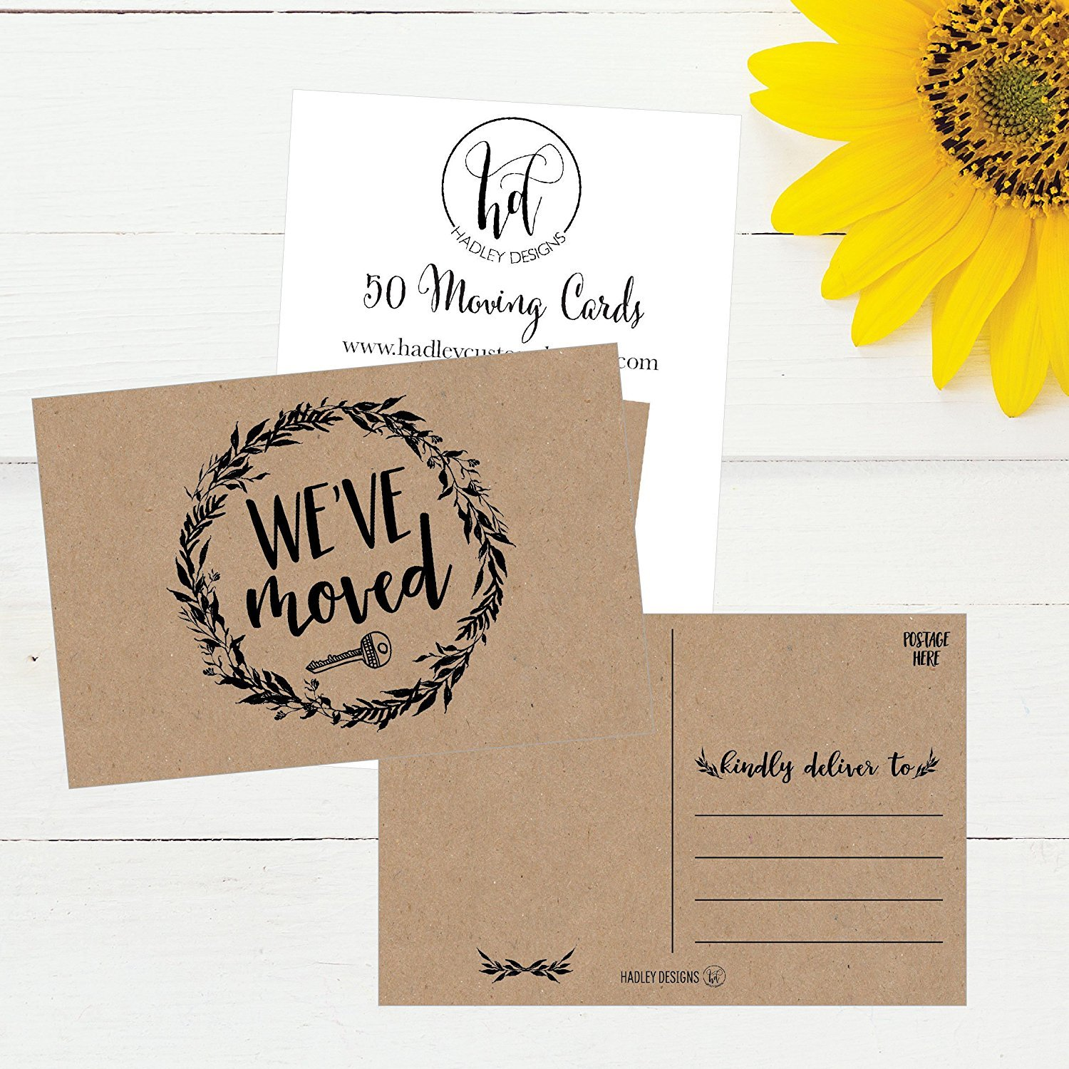 PRINTED  New address cards with envelopes housewarming Custom moving announcement card We/'ve moved printed new home Rustic sunflower