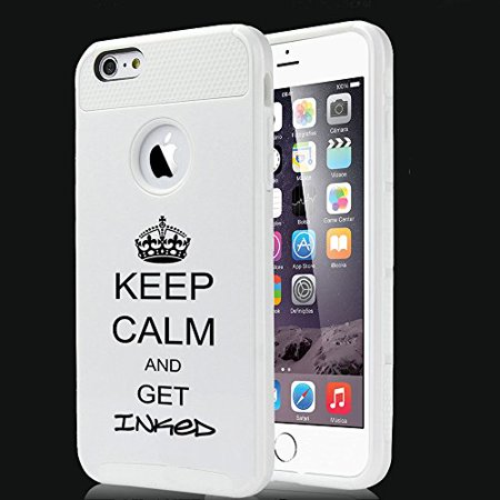 For Apple (iPhone 8) Shockproof Impact Hard Soft Case Cover Keep Calm And Get Inked Tattoo (White) ()