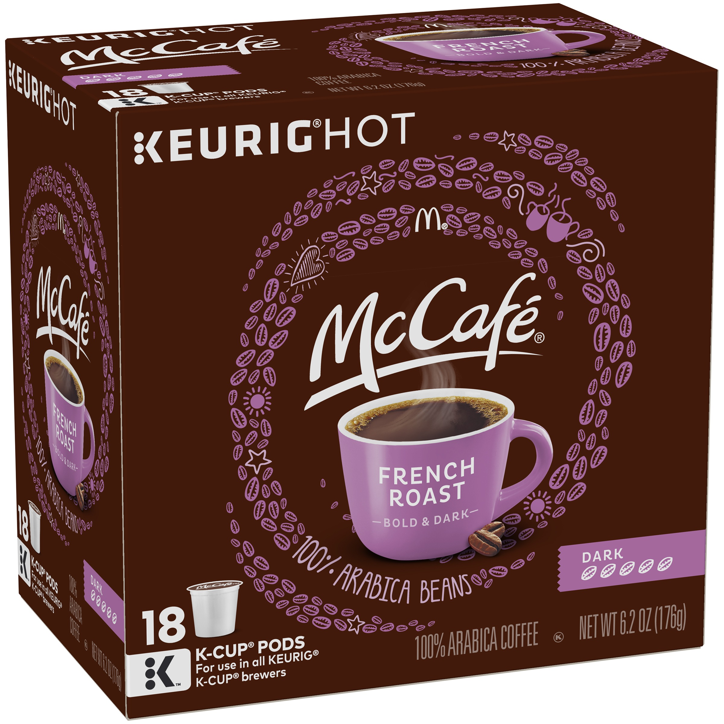 McCafe French Roast Dark Coffee K-Cup Pods, 18 count, 6.2 Oz