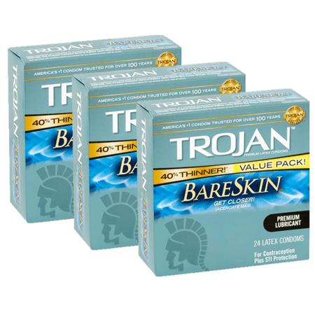 (3 Pack) Trojan Sensitivity BareSkin Lubricated, Latex Condoms, 24ct - Condom Costume
