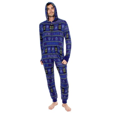 Doctor Who Exterminate Adult Navy One Piece Pajama Onesie Jumpsuit - T Shirt Onesie For Adults