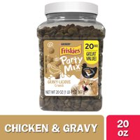 Friskies Cat Treats Party Mix Crunch Gravylicious Chicken & Gravy Flavors - 20 oz. Canister