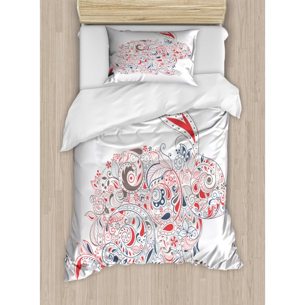 Bunny Duvet Cover Set Ornamental Easter Bunny Drawing Orient And Strokes Detailed Decorative Bedding Set With Pillow Shams Vermilion Purpleblue By Ambesonne Walmart Com Walmart Com