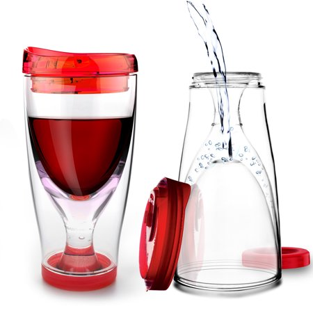 ASOBU Ice Vino2Go Insulated Wine Tumbler, Red - 10 oz