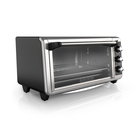 BLACK+DECKER 8-Slice Extra-Wide Stainless Steel/Black Convection Countertop Toaster Oven, Stainless Steel, TO3250XSB