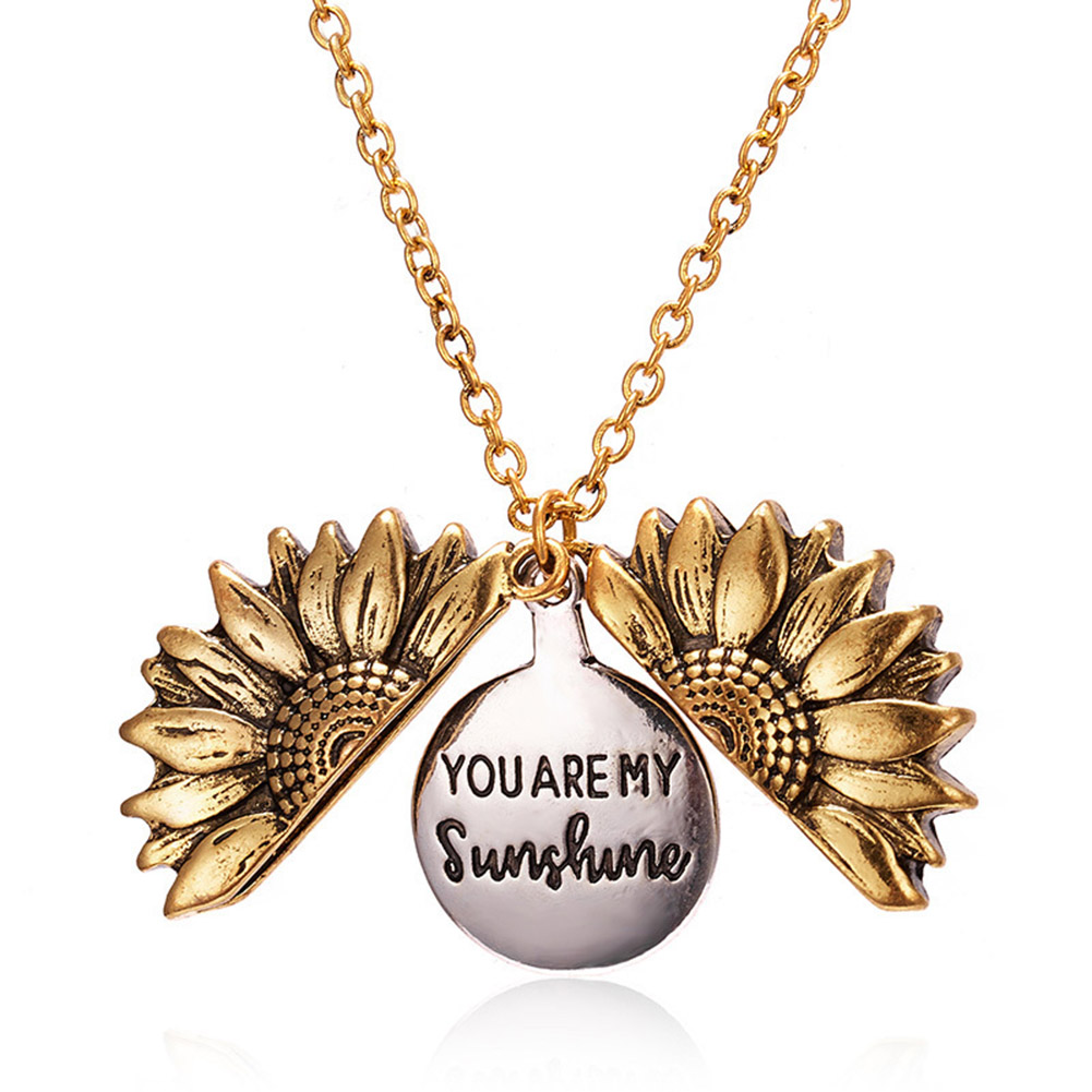 Mom Girls You are My Sunshine Engraved Necklace Sunflower Locket Necklace Engraved Hidden Message Pendant for Women