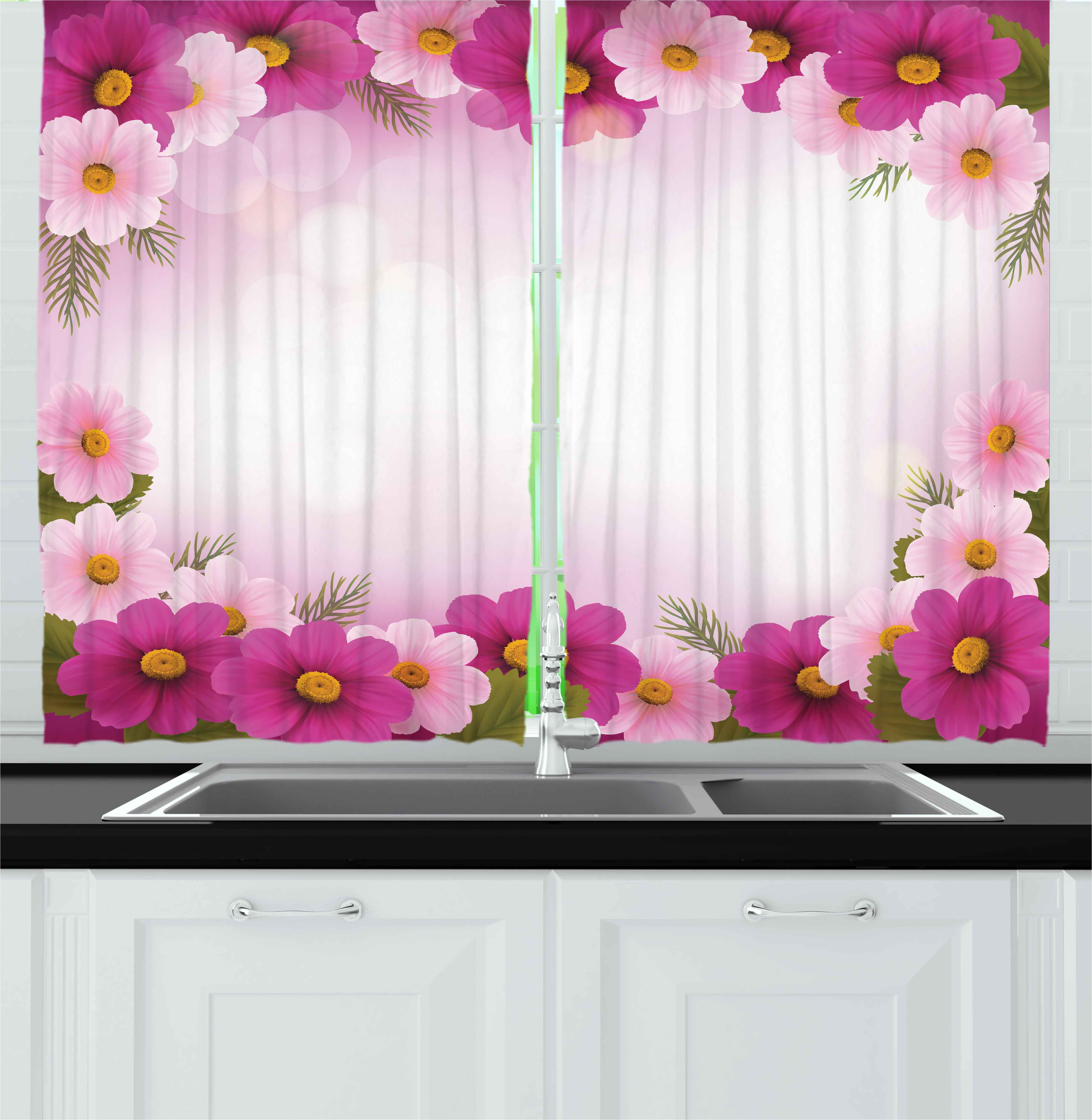 Pink Curtains 2 Panels Set, Framework with Romantic Daisies Valentine\'s Day  Design Celebration Theme, Window Drapes for Living Room Bedroom, 55W X 39L  ...