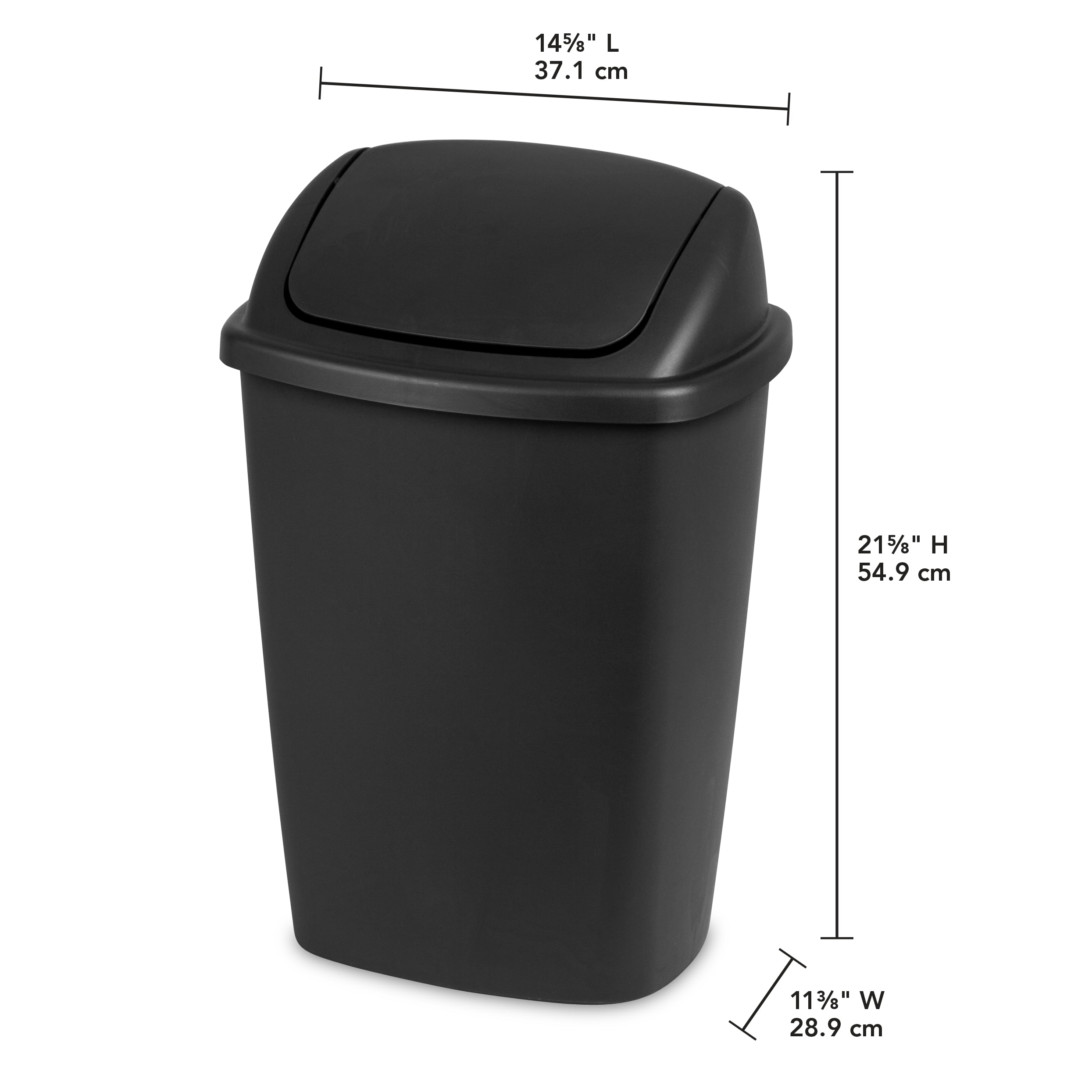 Sterilite 75 Gallon Swingtop Wastebasket, Black (Available In Case Of