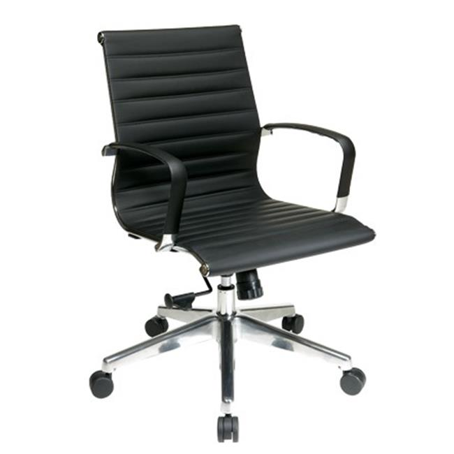 Office Star 74613LT Mid Back Black Eco Leather Chair With Locking Tilt Control And Polished Aluminum Arms And Base-
