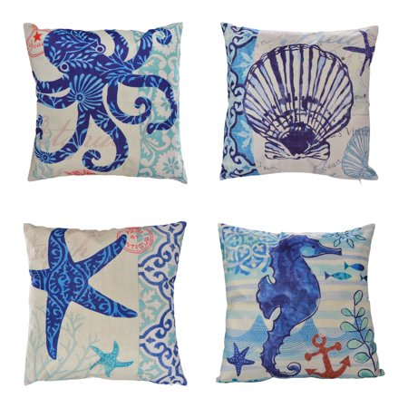 Outgeek 4Pcs Pillow Cases Ocean Theme Printed Linen Pillow Covers Decorative Throw Pillows Covers Square Pillow Case for Women Men Living Room Bedroom Sofa Home Decor](Ocean Themed Classroom)