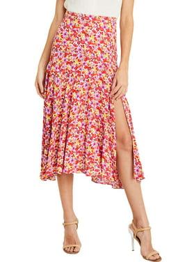 Lush Clothing Womens Printed Slit Midi Skirt